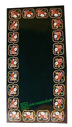 3and039x2and039 Black Marble Coffee Table Top Stones Inlay Pietra Dura Hotel Antique Work
