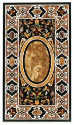 4and039x2and039 Black Marble Coffee Table Top Stones Inlay Pietra Dura Antique Decor K1