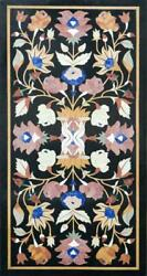 4and039x2and039 Black Marble Coffee Table Top Stones Inlay Pietra Dura Antique Decor