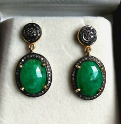 Valentines Gift Vintage Earrings Emerald And Diamonds Studded Sterling Silver Post