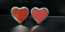 Two Vintage Sterling Silver Heart Shape Picture Frames