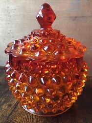 """Vintage Fenton Glass Orange Amberina Hobnail Covered Candy Dish 5.5"""" Collectible"""