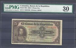 Colombia Banknotes 5 1923 Pmg Certified 30 Very Fine