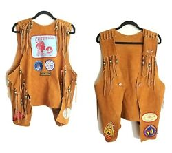 Rare Chippewa Buckskin Beaded Indian Style Suede Vest With Patches And Pins Xl-2xl