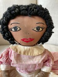 Vintage Doll Kitchen Toaster Cover Doll African American Folk Art Cotton Dress
