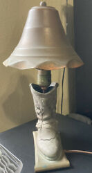 Vintage Western Boot Lamp With Copper Shade And Base