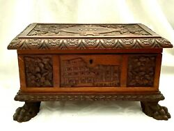 Antique Italian Tramp Art Hand Carved Wood Footed Jewelry/cigar Box