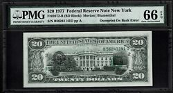 1977 20 Dollars New York Federal Reserve Rare Note Supper Error Back Pmg66