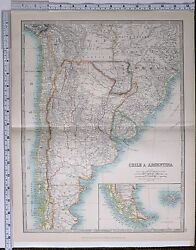 1915 Large Map Chile And Argentina Brazil Paraguay Bolivia Chile Falkland Islands