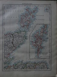 1900 Victorian Map Scotland North East Shetland Orkney Islands Caithness