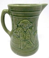 Vintage Used Stamped 6 In Shield Glazed Pottery Pirate Beer Keg Water Pitcher