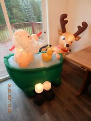 Airblown Inflatable Animated Santas Bath Moving Arm 6 Tall Enchanted Forest