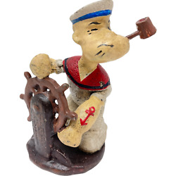 Popeye Sailing Figurine Cast Iron With A Painted Antique Finish Paperweight