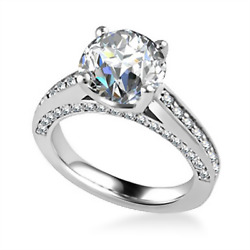 Stunning 1.25 Ct Real Diamond Anniversary Ring Solid 18k White Gold Size 6 7 8 9