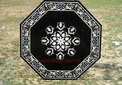 2and039x2and039 Table Marble Inlay Top Pietra Dura Coffee Center Malachite Antique Decor