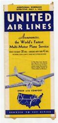 United Airlines Schedule Effective July 1, 1933 Route Map Plane Photos