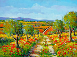 In The Middle Of Tuscany Country Italian Oil Painting Masini Home Decor Art