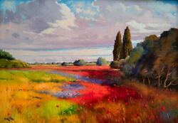 Big Painting Tuscany Colored Flowers Field Oil Andrea Borella Artwork Italy