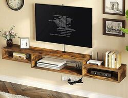 Floating Tv Stand Brown 70 Wall Mounted Shelf Media Entertainment Center Rustic