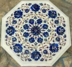 2and039 White Marble Table Top Coffee Center Inlay Malachite Pietra Dura Antique Rth