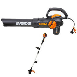 Sale Worx Yard Tool Package W/ Trivac Electric Leaf Blower And Cordless Grass Tr