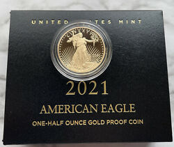 2021-w 1/2 Oz American Eagle Gold Proof Coin - Type 2 -andnbsp In-hand Ready To Ship