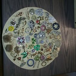 Costume Jewelry Lot - Necklaces Brooches Pins Earrings 160+ Pieces
