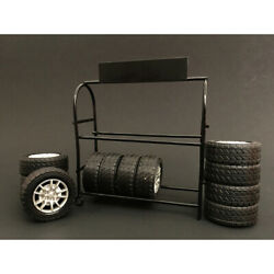 Metal Tire Rack With Rims And Tires For 1/18 Scale Models By American Diorama...