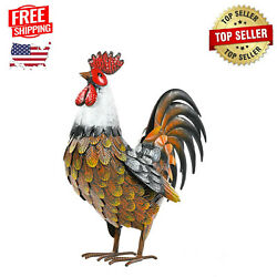 Garden Rooster Statues And Sculpture Metal Chicken Animal Yard Art Lawn Ornament