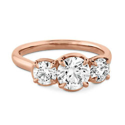 Solid 18k Rose Gold 1.10 Ct Three Stone Real Diamond Wedding Ring Size 5 6 7 8 9