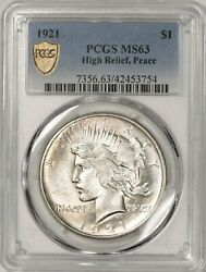 1921 Peace Dollar Pcgs Ms63 Gorgeous High Relief Caa9