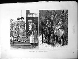 Old Christmas Southern India Receiving Mail Gathering Decorations 188 Victorian