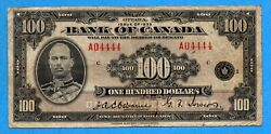 100 1935 Bank Of Canada Note English Text Bc-15 - Near Solid Serial 04444