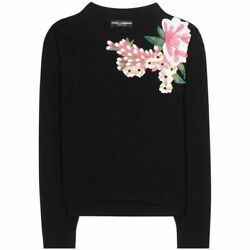 Dolce And Gabbana Cashmere And Wool Floral Applique Sweater Bnwt Size It46-uk14-l