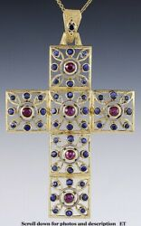 Large Finest Quality 18k Gold Ruby And Sapphire Openwork Cross Pendant