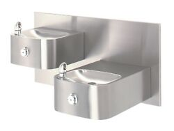 Haws 1011 Hi-lo Barrier-free Wall Mounted Drinking Fountain With Swirl Bowl