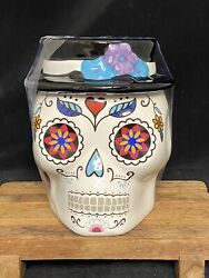 Day Of The Dead Cookie Jar Dia De Los Muertos Kitchen Canister Sugar Skull New