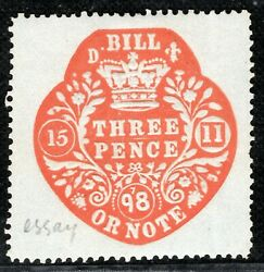 Gb Qv Revenue Stamp Essay 3d Red/blued Bill Or Note 1898 Mint Mm Gwhite27