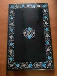 5'x3' Black Marble Table Top Dining Center Mosaic Inlay Pietra Dura Antique