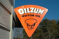 Old Style Oilzum Gas And Oil Motor Steel Flange Sign Usa Made Thick Steelmint