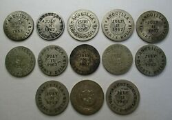 Anguilla Counterstamped Liberty Dollar 1967 13 Different Date Or Type Coins