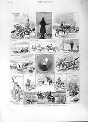 Original Old Antique Print 1882 South Africa Natal Mounted Police Camp D 19th