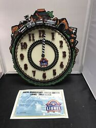 Vintage 2000 Lionel Trains 100th Anniversary Animated Wall Clock W/ Certificate