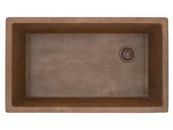 Drop-in Handmade Copper 31 In. Single Bowl Kitchen Sink In Hammered Copper
