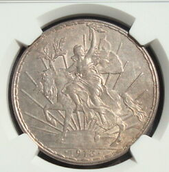 1913 Mexico 1 Peso Silver Beautiful Coin Au Ngc 58