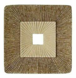 1 X 26 X 26 Brown Concave Square Double Layer Ribbed Wall Plaque