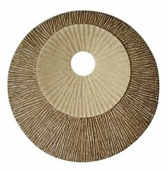 1 X 19 X 19 Brown Round Double Layer Ribbed Wall Plaque
