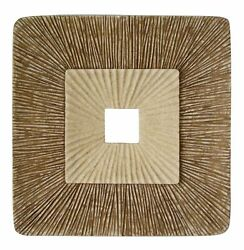 1 X 14 X 14 Brown Concave Square Double Layer Ribbed Wall Plaque Set Of 2
