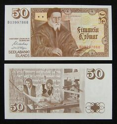 Iceland Paper Money 50 Kronur 1961 Unc, See The Picture For Signature