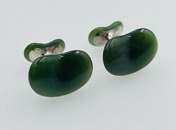 And Co. Authentic Elsa Peretti Sterling Silver Green Jade Bean Cufflinks